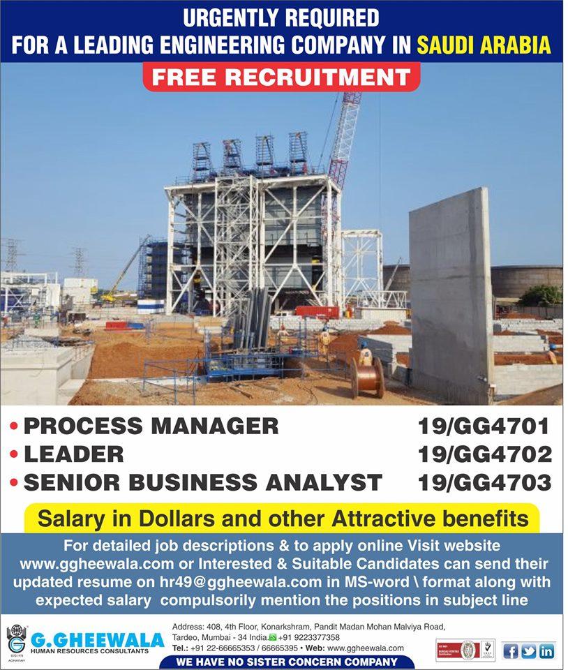 Leading Engineering Company job in Saudi Arabia