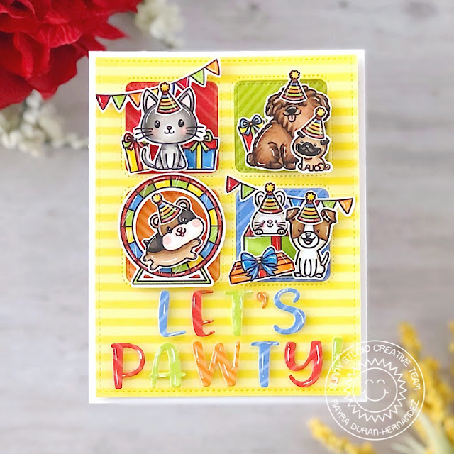 Sunny Studio Stamps: Bewitching Purrfect Birthday Puppy Parents Window Quad Dies Happy Hamster Critter Themed Birthday Card by Mayra Duran-Hernandez