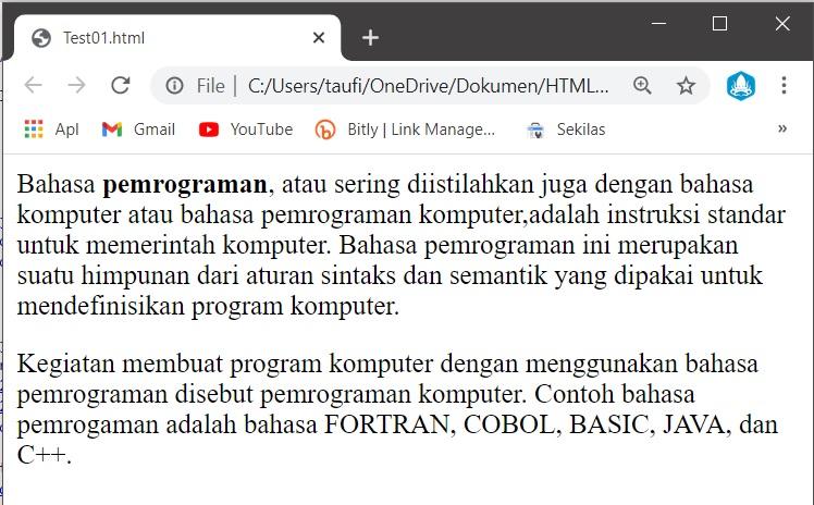 contoh penggunaan tag html