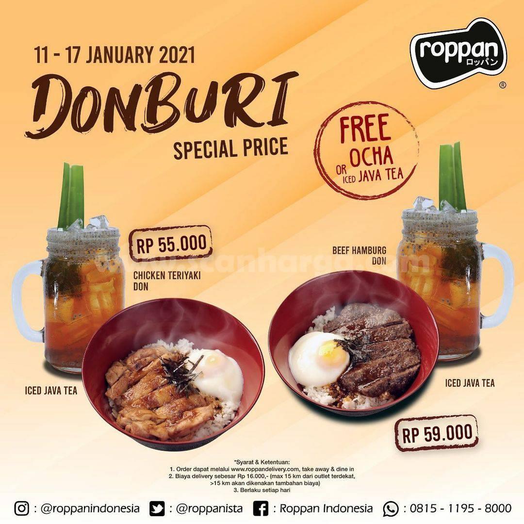 Roppan Promo Donburi Special Price mulai Rp 55.000 + Gratis Ocha atau Java Tea