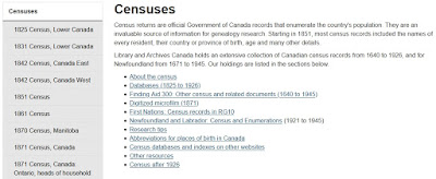 Screen capture of the Library and Archives Canada Censuses landing page.