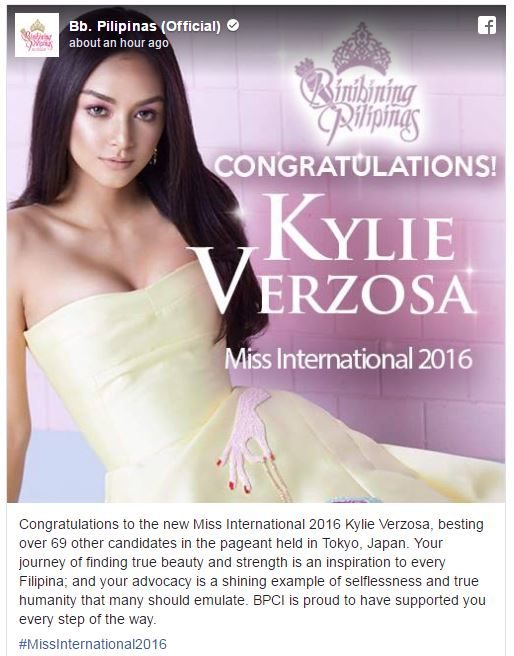 Kylie Miss International 2016