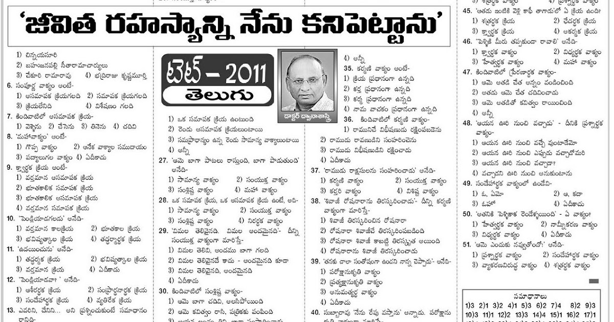 Students Bhavitha: TET Telugu Question Paper