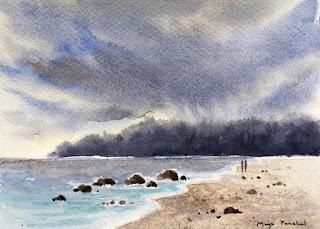 A water colour painting of a cloudy day at the beach by Manju Panchal