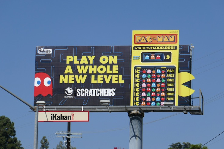 Play on a whole new level Ca Lottery PacMan Scratchers billboard