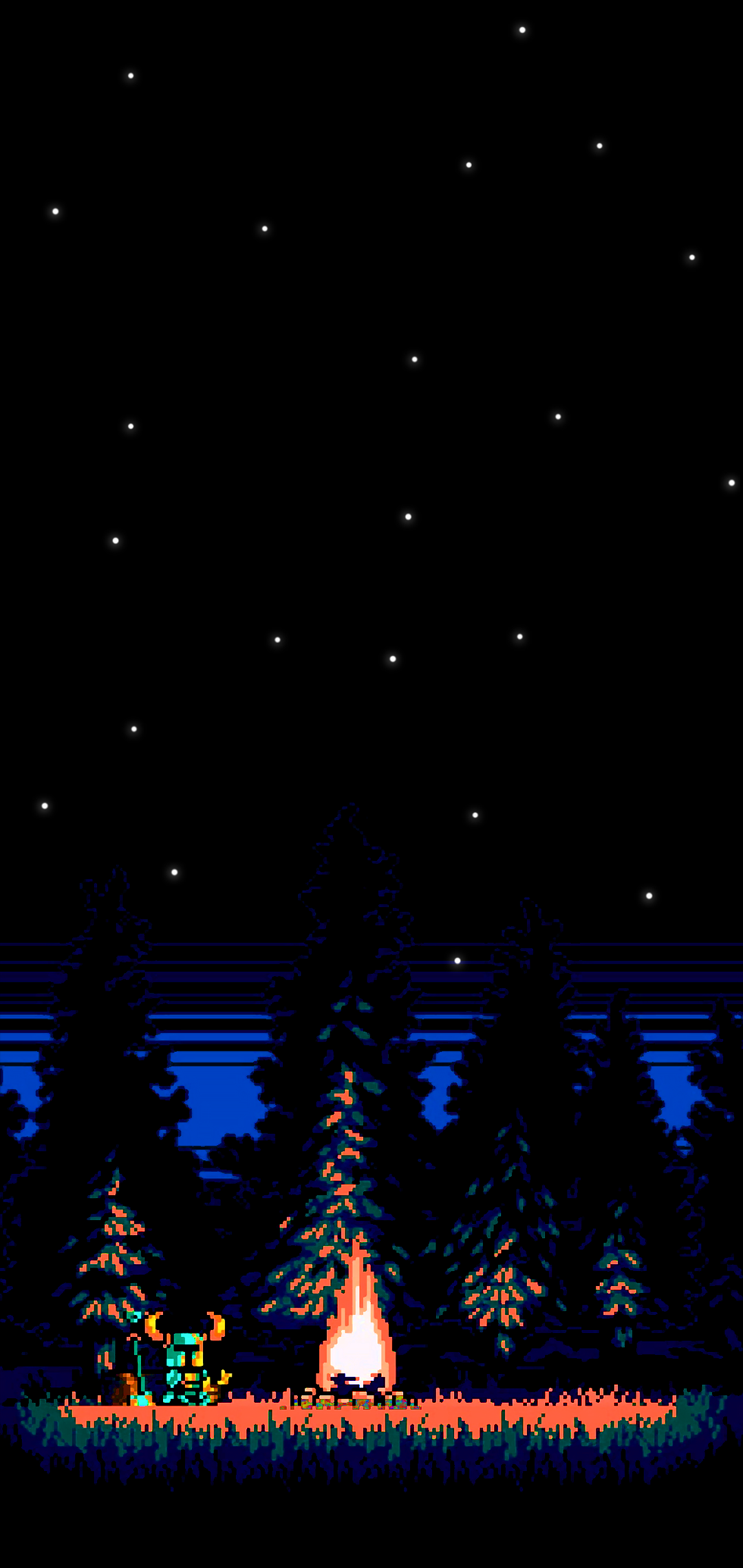 PIXEL ART AMOLED NIGHT BLACK WALLPAPER PHONE