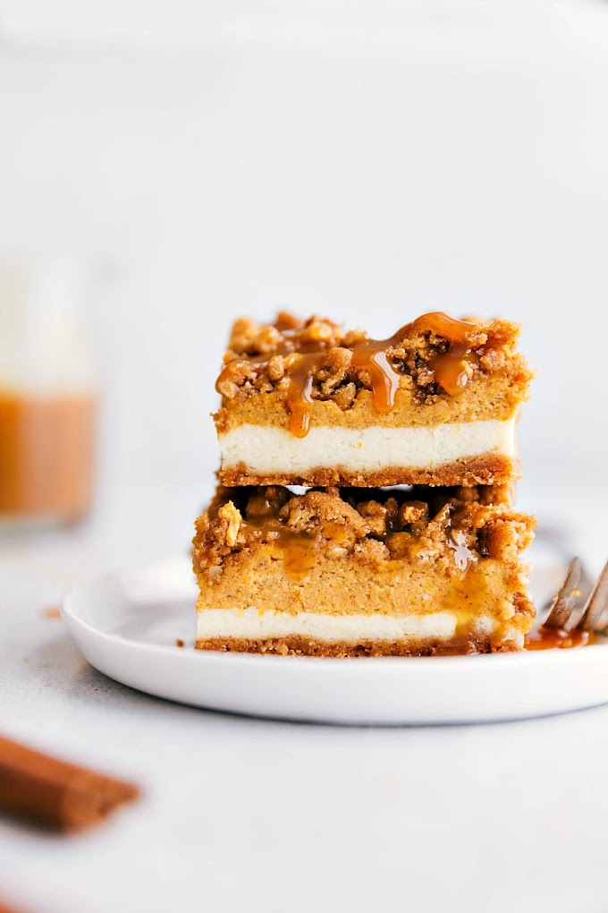PUMPKIN CHEESECAKE BARS #bars #dessert