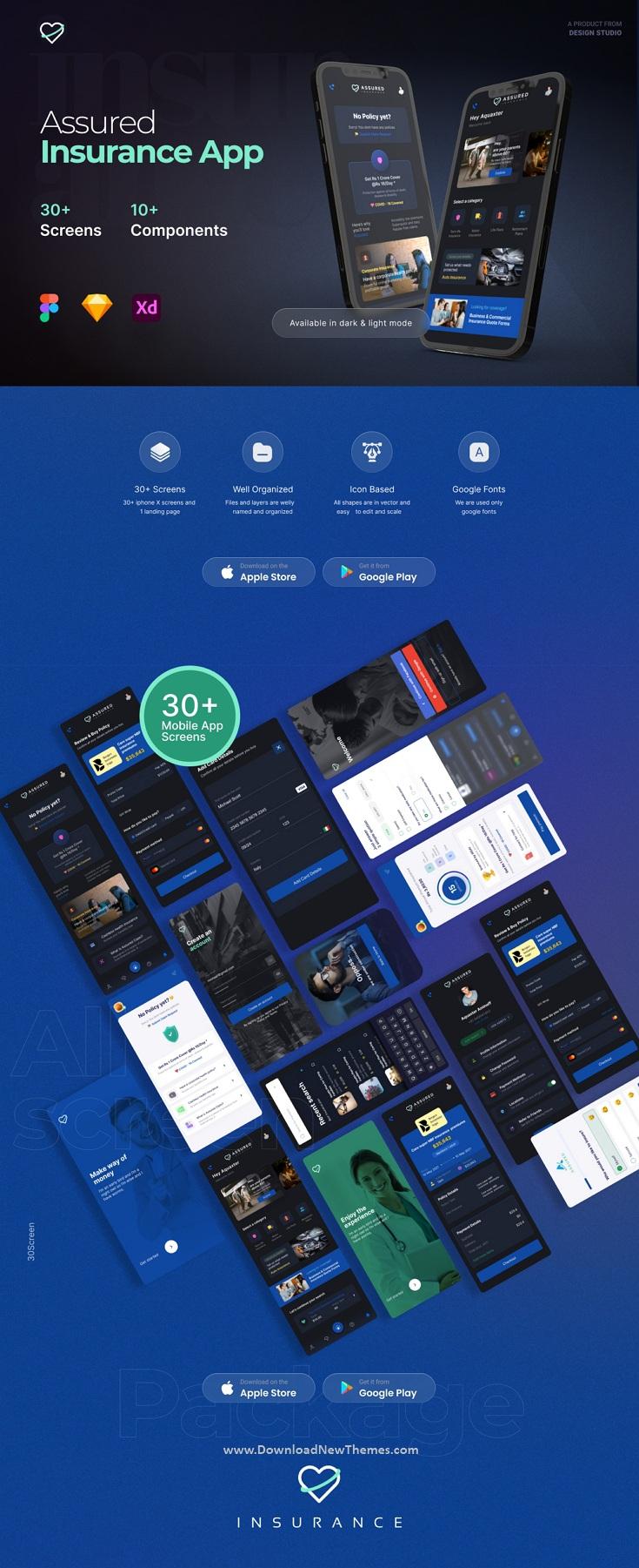 Assured 30 Insurance Mobile App UI Kit Template