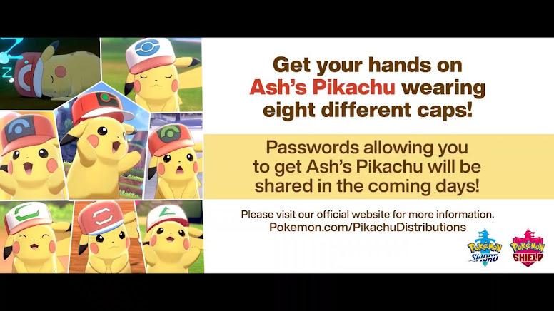 Ash Pikachu Distribuição Pokémon Sword Shield