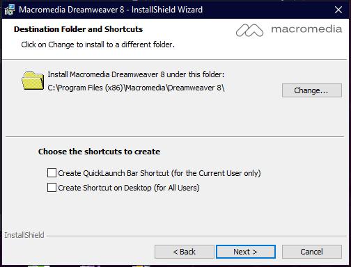 Destination Folder and Shortcuts
