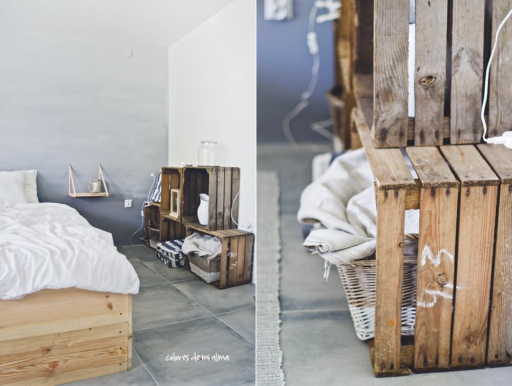 łóżko drewniane DIY ombre wall