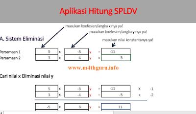 Contoh Soal Himpunan Penyelesaian SPLDV dengan Metode Eliminasi (Aplikasi SPLDV m4thguru)