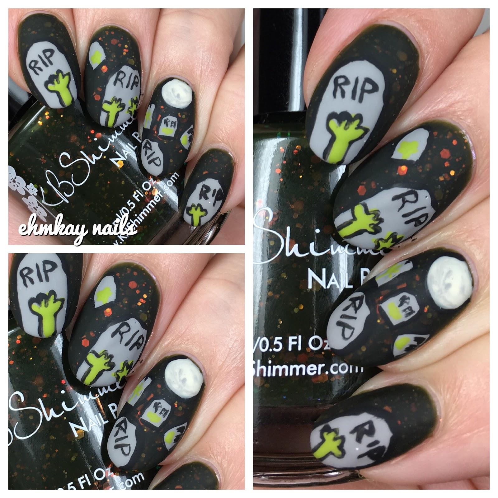 13 days of halloween nail art zombie graveyard
