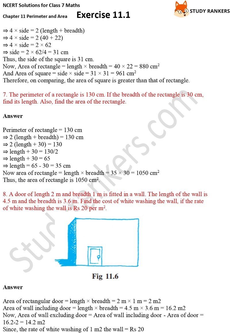 NCERT Solutions for Class 7 Maths Ch 11 Perimeter and Area Exercise 11.1 3