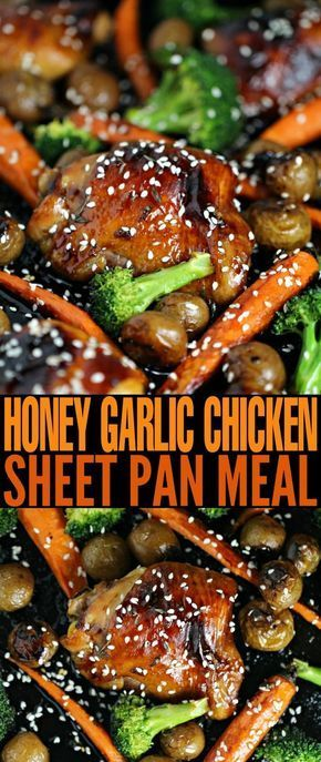 This Honey Garlic Chicken Sheet Pan Meal is complete with sides of carrots, broccoli and baby potatoes. It's full of flavour, and quick and easy.