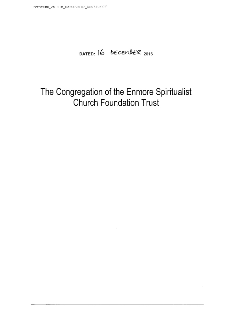 The Congregation of the Enmore Spiritualist Church Foundation Trust Deed