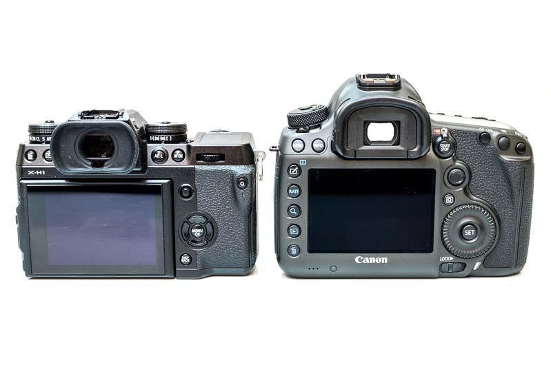 Сравнение габаритов Fujifilm X-H1 и Canon EOS 5DS R