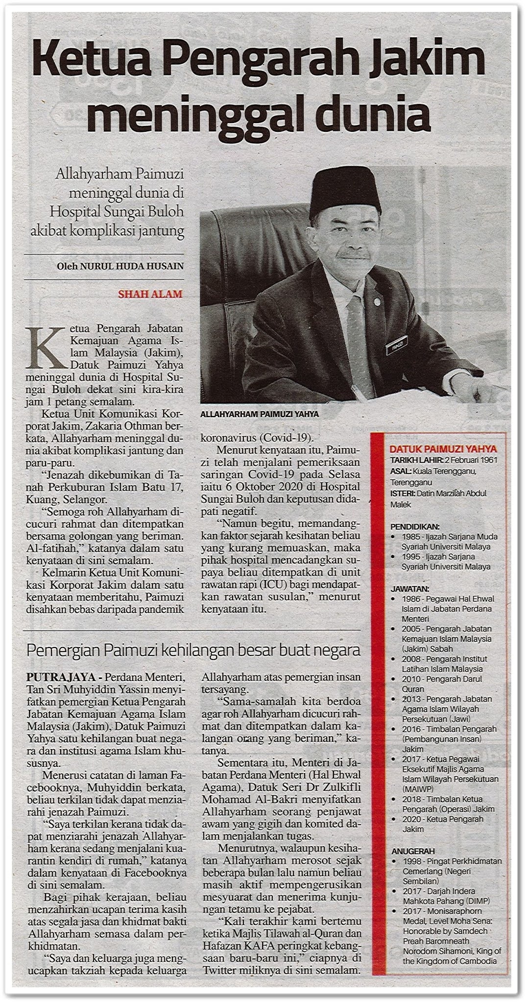 Ketua Pengarah JAKIM meninggal dunia - Keratan akhbar Sinar Harian 9 Oktober 2020