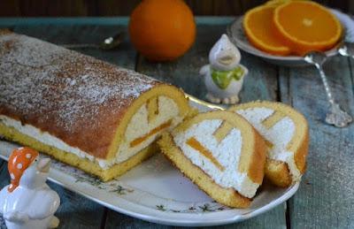 Творожный рулет с апельсинами