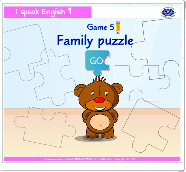 "I speak English 1: ""Family puzzle""  (Juego de Inglés de Infantil)"