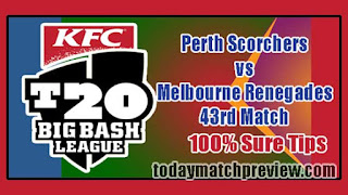 Today BBL 43rd Match Prediction Renegades vs Perth Dream 11 Team