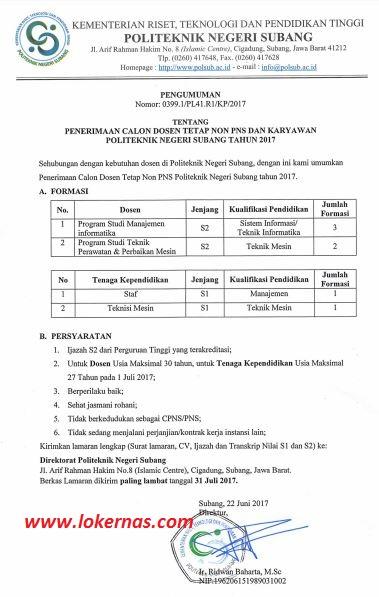 Lowongan Dosen dan Tenaga Kependidikan Non PNS Politeknik Negeri Subang