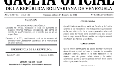 Gaceta Oficial Extraordinaria 6.622 de Aumento Salarial Mayo 2021