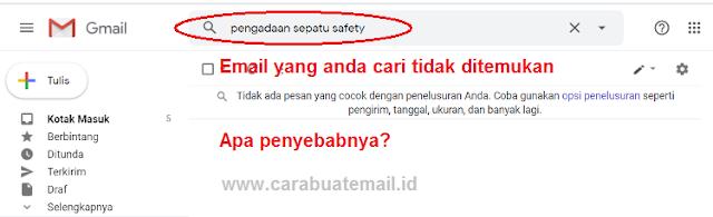 penyebab email tidak ditemukan