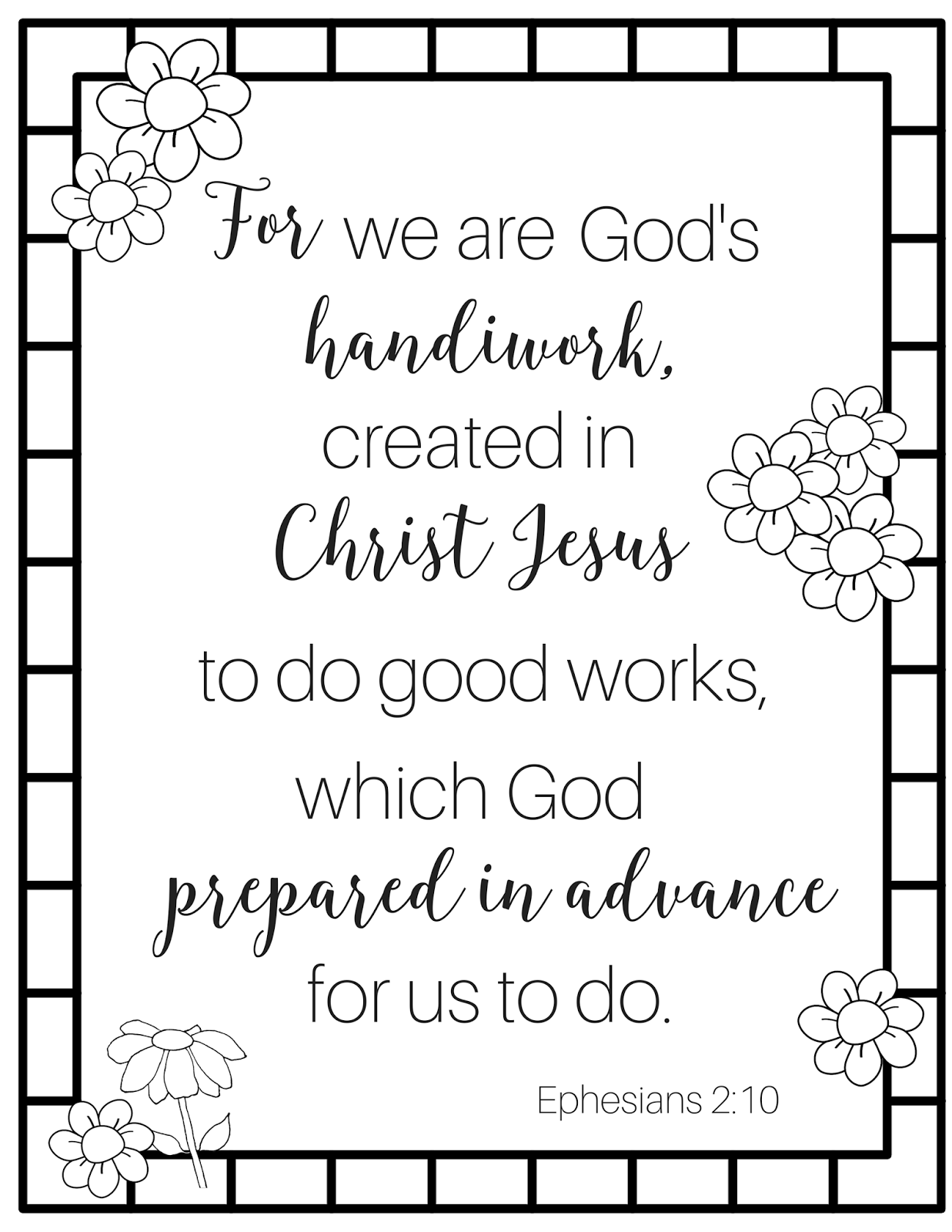 The Prudent Pantry: For we are God's handiwork (coloring page)