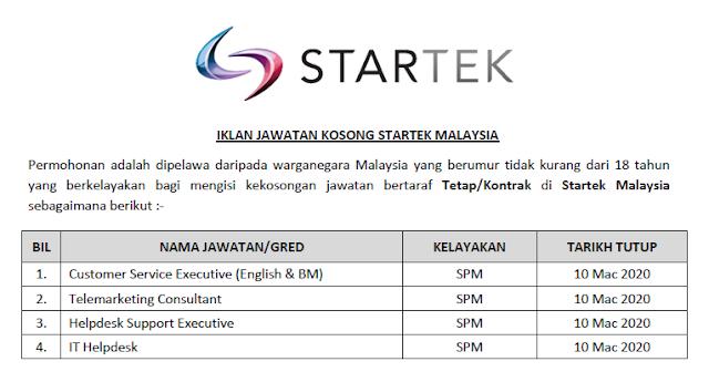 jawatan kosong startek malaysia