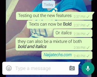 Bold and italics texts in whatsapp