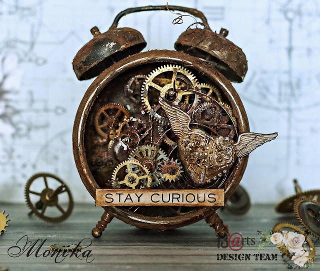 Budzik z efektem prawdziwej rdzy/ Alarm clock with real rust effect poweder