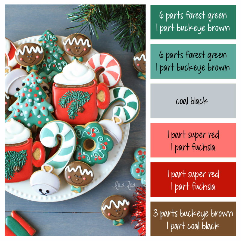 how to make traditional Christmas icing colors - cookie decorating icing color palette with formulas