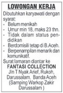 Loker Fantasi Collection Banda Aceh
