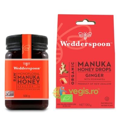 Miere De Manuka KFactor 16 RAW 100% Naturala 500g + Bomboane (Dropsuri) cu Miere de Manuka, Ghimbir si Echinacea Ecologice/Bio 120g Cadou WEDDERSPOON