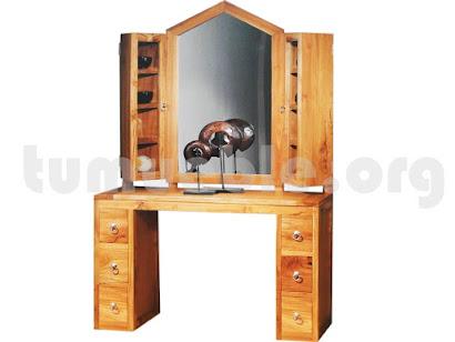 consola con espejo hecho en teca 4083+4084