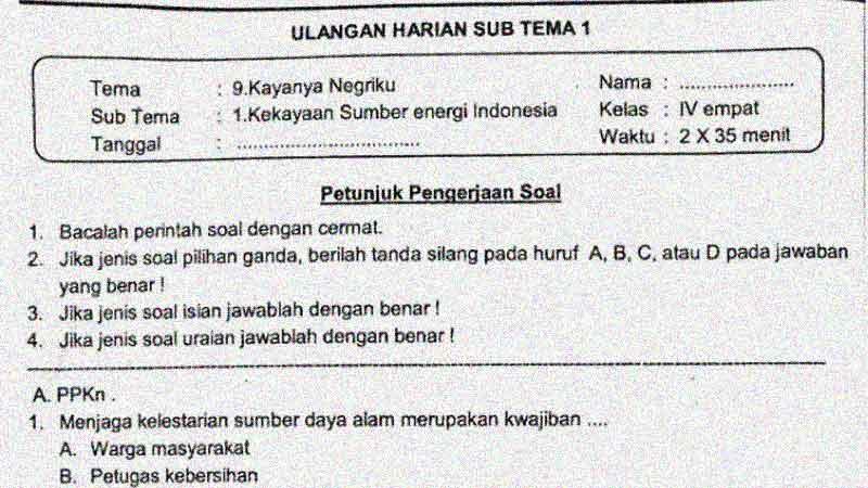 Soal Penilaian Harian Kelas 4 Tema 9 Subtema 1