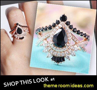Pear shaped Black sapphire engagement ring set,Vintage Black diamond & onyx diamond band women Unique Bridal Jewelry