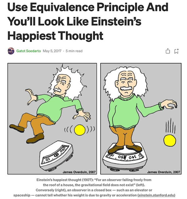 Einstein's happiest thought (Source: James Overduin as posted by Gatot Soedarto)