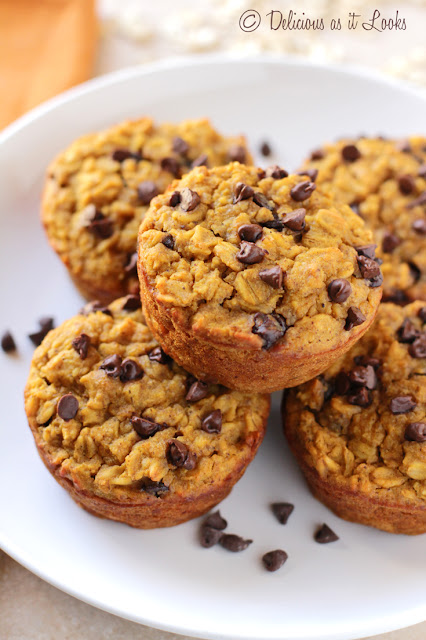 Pumpkin Chocolate Chip Baked Oatmeal Muffins {Low-FODMAP}