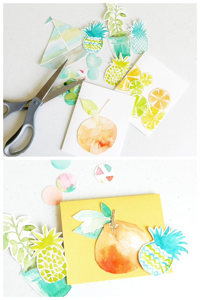 watercolor cut out shapes and cards