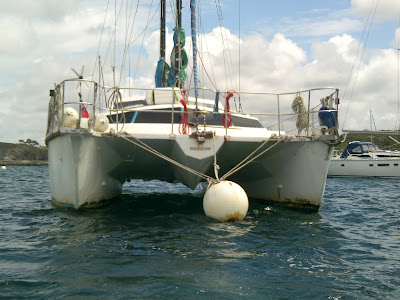 Catamaran on mooring bouy