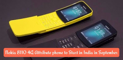 Nokia 8110 4G Attribute phone to Start in India in September