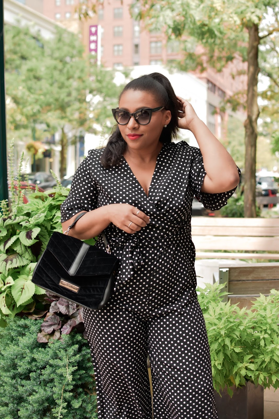 Shein, shein clothes, polka dot trend, polka dot jumpsuit, stylish mom outfits, black and white outfits