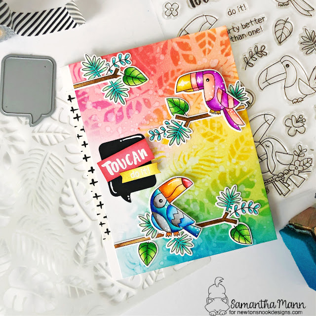 Toucan Card by Samantha Mann | Toucan Party Stamp Set, Tropical Leaves Stencil and Speech Bubbles Die Set by Newton's Nook Designs #newtonsnook