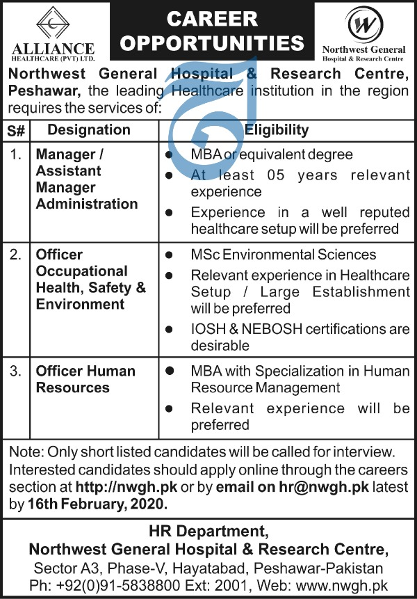 Jobs in Northwest General Hospital and Research centre 2020