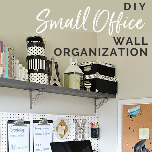 Small Home Office Wall-To-Wall Shelves and Pegboard Organization