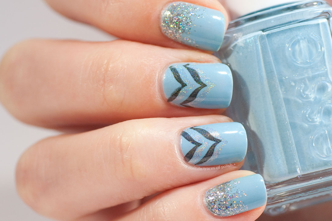 Blue and Silver Holo Chevron Manicure