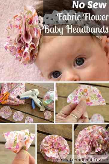 Flores em tecidos para enfeites de cabeça de crianças