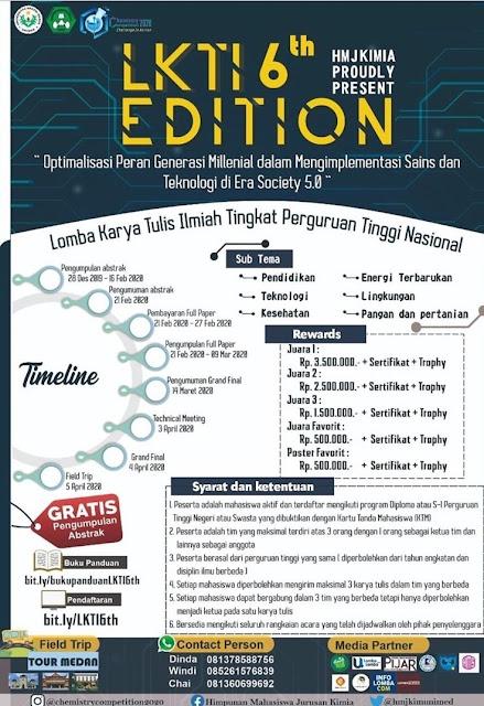 Lomba Karya Tulis Ilmiah (LKTI) 6th Edition Tingkat Perguruan Tinggi Nasional Chemistry Competition 2020